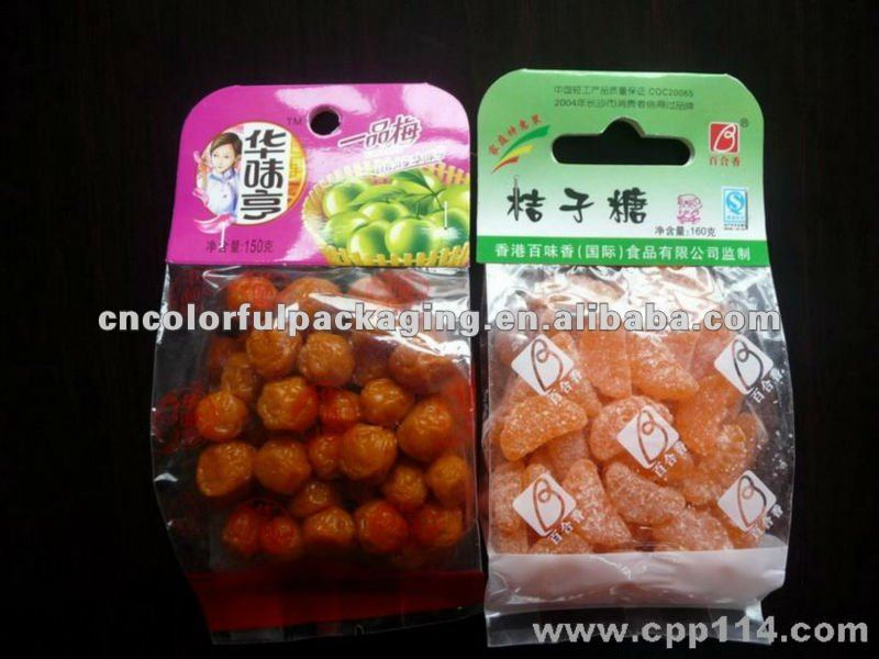 resealable printing candy plastic packaging bags for candied fruit
