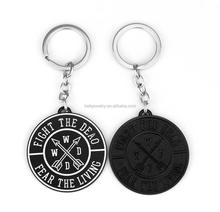 AMC Walking Dead Fight The Dead Fear The Living Keychain Black Round Metal Pendant Keyring key chain