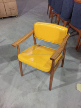 Yellow leather upholstered solid wood restaurant chairs in guangzhou(FOH-BCC33)