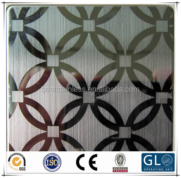 Grade 304 Decorative Metal Etched/Etching Stainless Steel Sheet