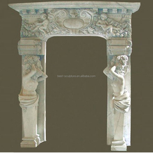 classical stone arch marble door frame with male figure design