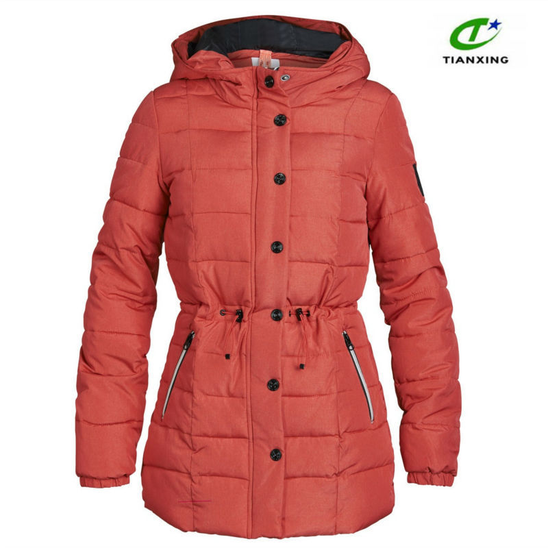 2015 Newly designed custom padded hooded parka coat for women