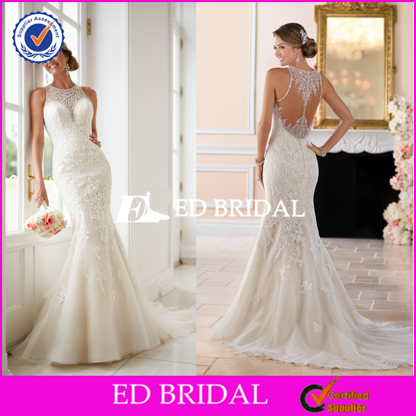 ED Bridal Lace Appliqued Tulle Wedding Dress Ankle Length
