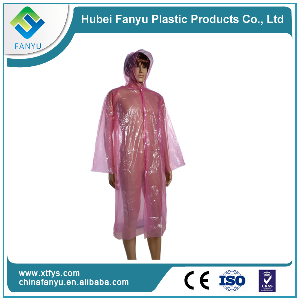 Cheap disposable transparent plastic raincoats