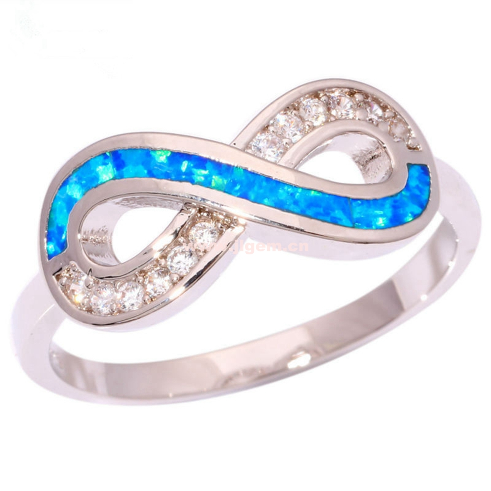 Wholesale 925 Sterling Silver Llated Blue Fire Opal Infinity Symbol Ring