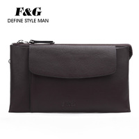 Retro genuine leather pouch bag men clutch bag brown leather