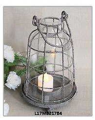antique vintage glass tealight metal candle holder
