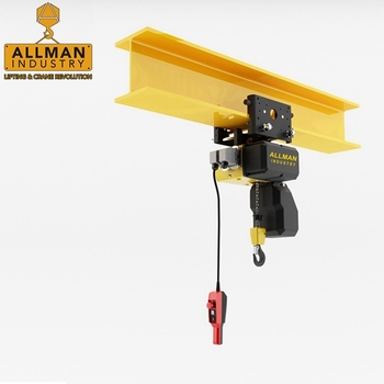 M5 /M6 Europe standard 500kg 1000kg hot sales manual push trolley mounted electric chain hoist
