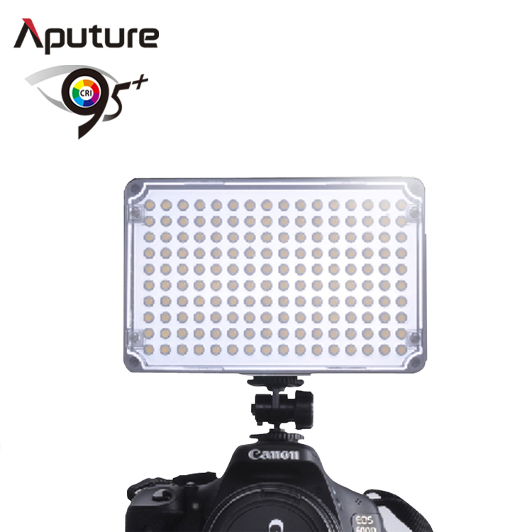 Small Aputure H160 5500K CRI 95 Dual power supply LED Panel light for Camcorder