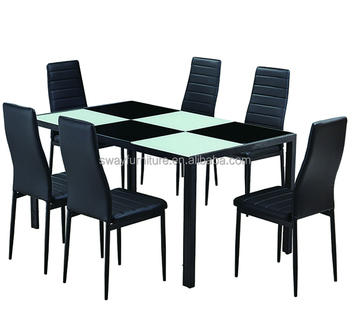 Dinning table set glass dining room furniture, Malaysia cheap modern outdoor kitchen glass dining table 6 chairs set designs