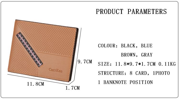 Men's Wallet Short Purse Multi-Functional Embossed Wallet