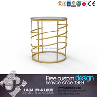 Popular modern design round glass top with gold iron coffee table