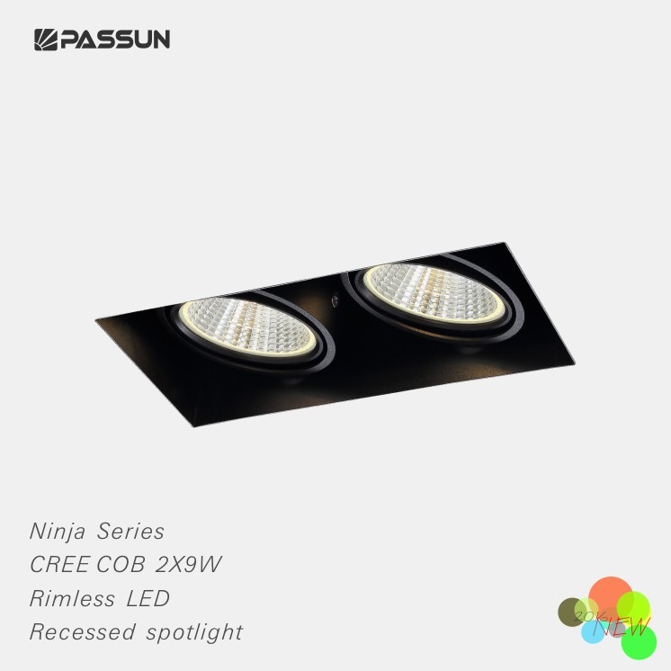 18W 205X110X113mm recessed mounted square rimless COB led spotlight