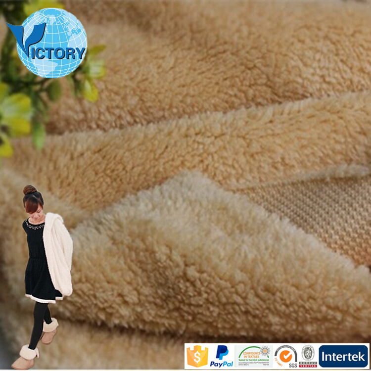 2017 China Hot Sale 100% Polyester Sherpa Fleece Kintted Fabric