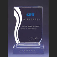 Personalized Laser Engraved cheap Crystal Clear Plaque Awards with Custom Logo for Company Business Souvenir
