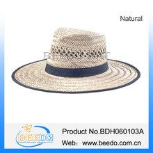 Hollow grass wide brim straw fedora hats made in mexico