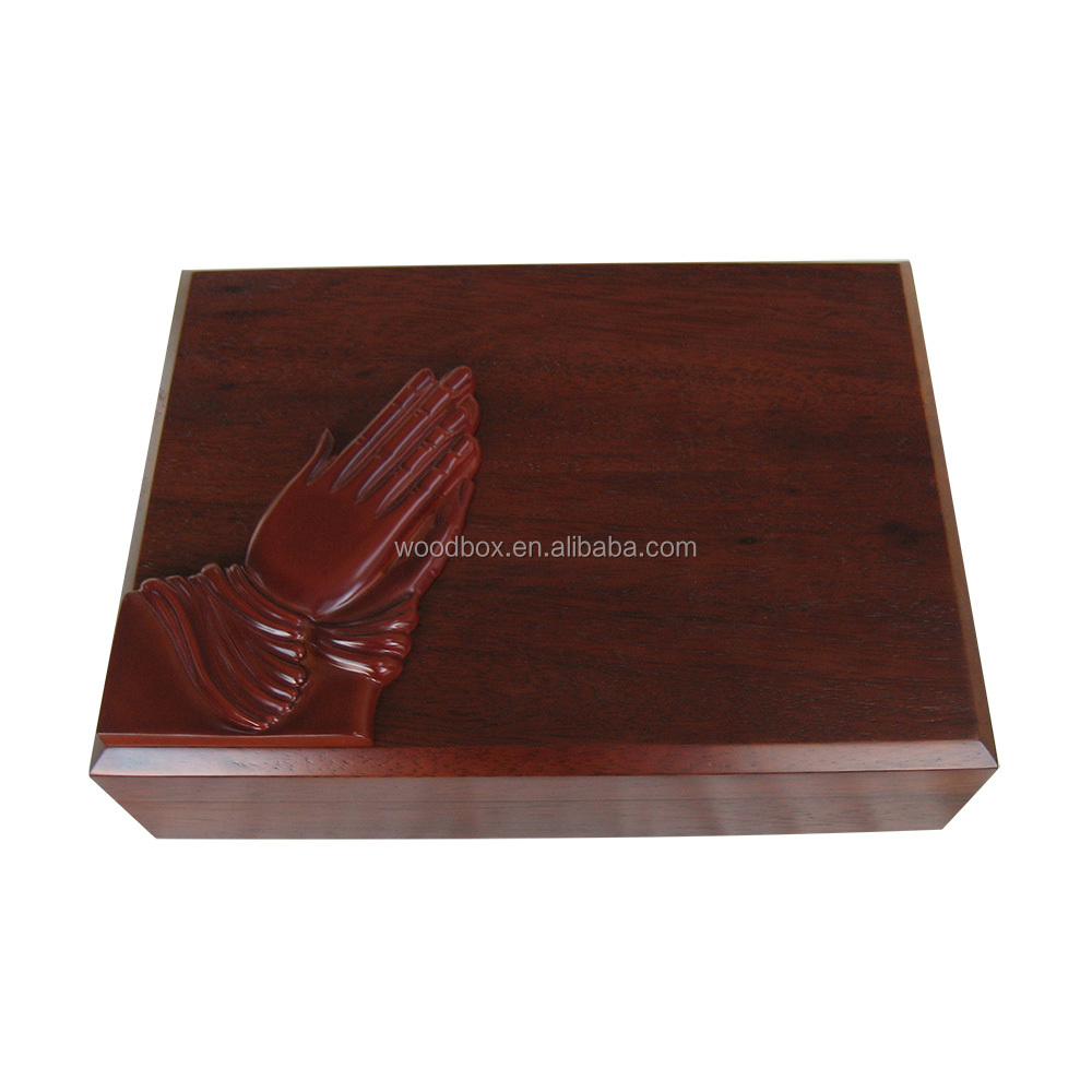 carved wooden religious box packaging storage box high quality matt finishes Laser engraving metallic logo