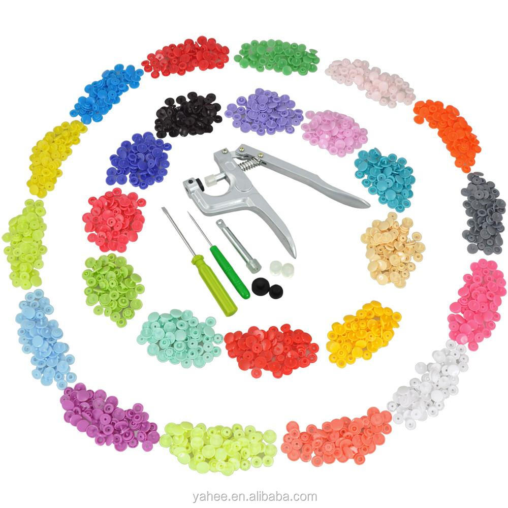 350 Set T5 Snap Fastener Pliers Kit Plastic Press Button 25 Colors