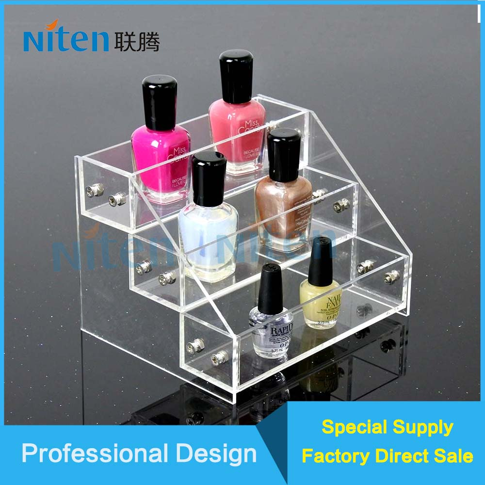 Nail polish ladder tablet display stand acrylic cosmetics display origanizer