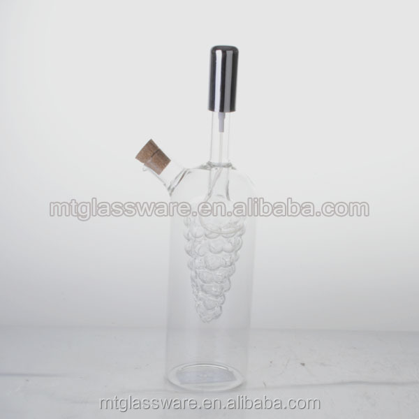 2 in 1 double wall glass bottles for olive oil and vinegar