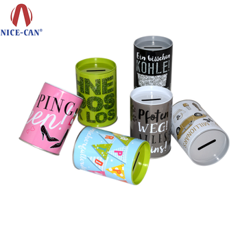 Nice-can Round Tin Money Box Saving Box