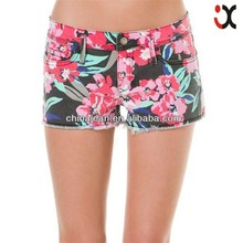 Moda sexy caliente vaquero jeans shorts mujer floral JXS22050