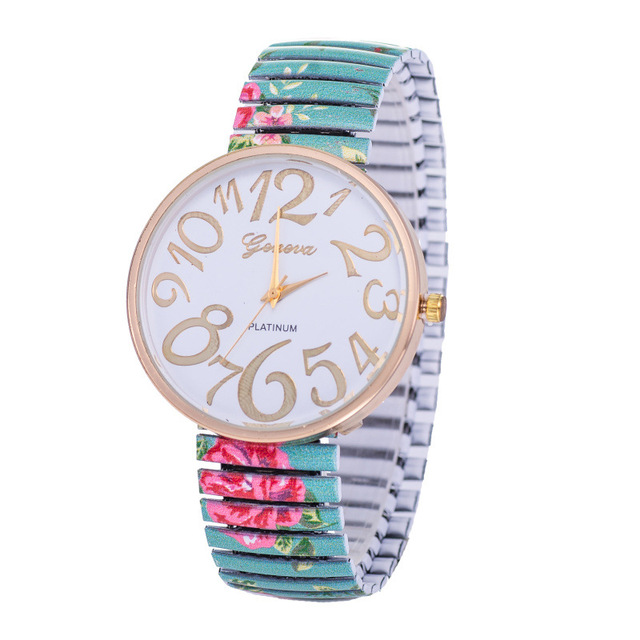 4-Colors  2016 New Hot Sale Geneva Fashion Rural Wind  Flower Bracelet Watch Women  Quartz Watches  W157