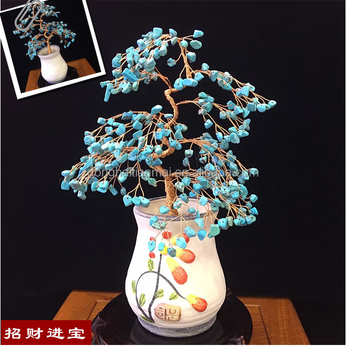 wholesale China feng shui turquoise crystal quartz natural stone bead tree for home decoration