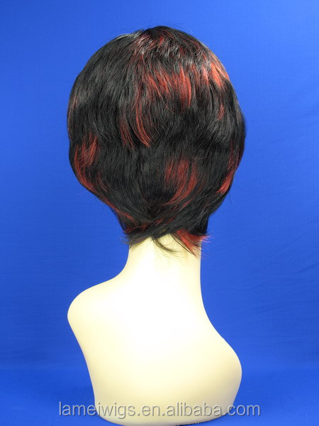 N6133 black color with red highlight fashion short curl synthetic beauty hair wigs for men