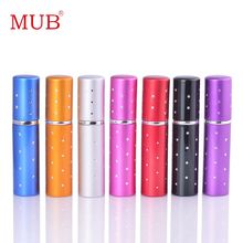 MUB Hot Sale 1Piece Mini 5ML Travel Cute Perfume Refill Bottle Spray Glass & Portable Pocket Sized Aluminum Perfume Atomizer