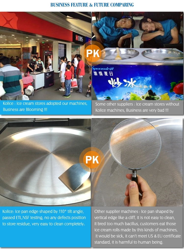 CE RoHs NSF Approval Kolice Single Round Pan Table Top Mini counter topping taco rolled fry ice cream machine