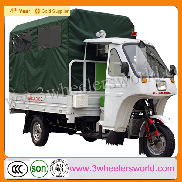 gasoline ambulance three wheel motorcycle/ 2014 Gasoline Motorized 175cc Ambulance Three Wheel Motorcycle/scooter with roof