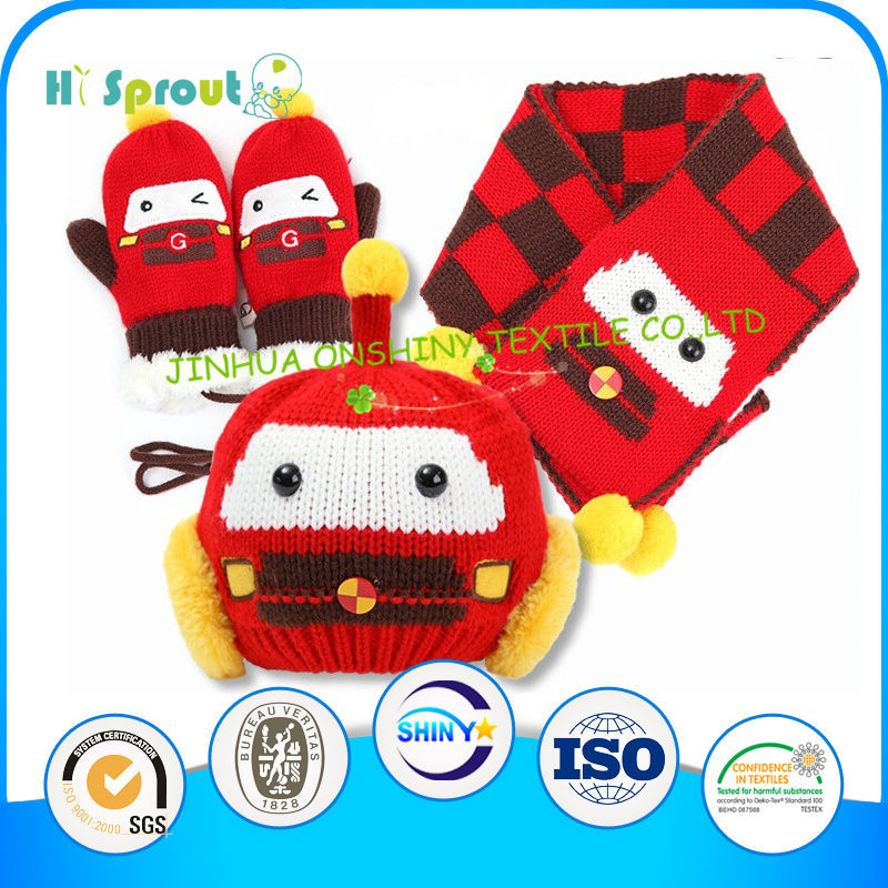 Cute Robot Optional Patterns Baby Hat Scarf and Glove Set