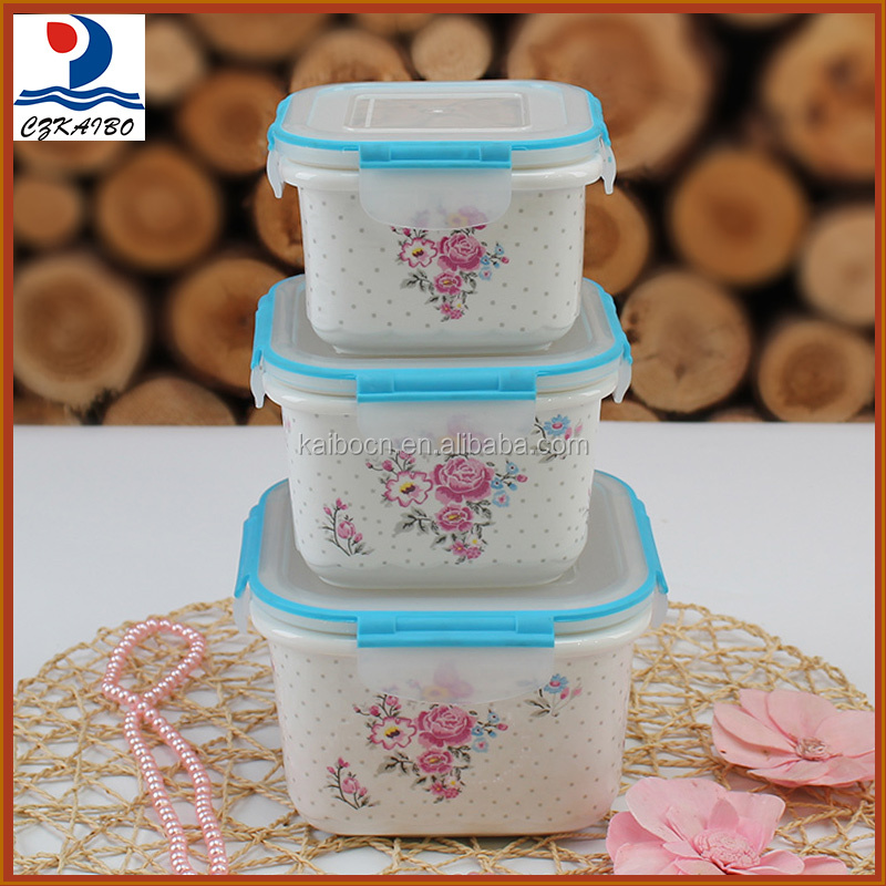 High quality beautiful design porcelain 3pcs square fresh bowl with lid on sale