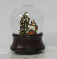 Nativity snow gloge with music box wood grain base