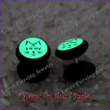 Glow In The Dark Design UV Acrylic Ear Plug Tunnel Fake Ear Tapers [UV-FE602A]