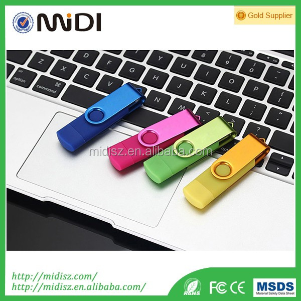 Mini Metal OTG USB Flash Drive with touch screen Pen Drive U-disk for Android smart phones