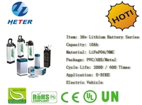 Electric Bike / EBike Rechargeable Lifepo4 / Li-ion Battery Pack 36v10Ah; UN38.3, MSDS Approved