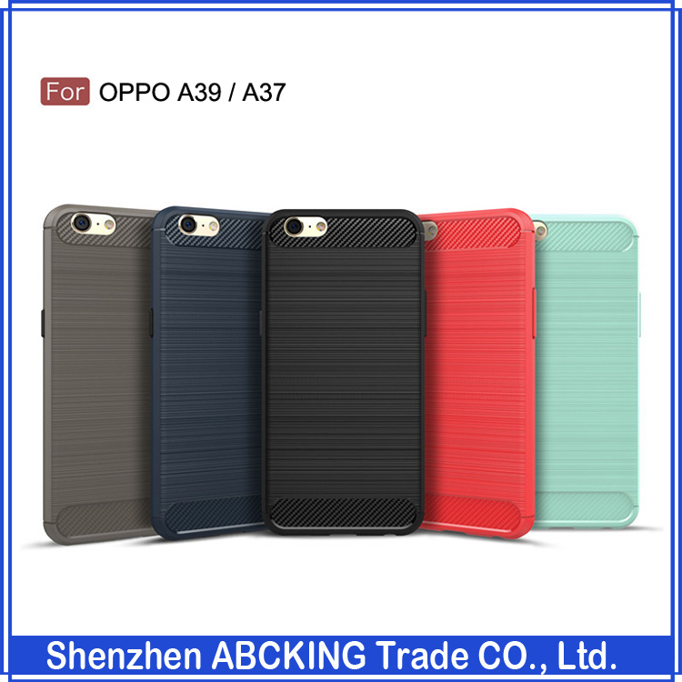 Pone Cover For OPPO A37 / ON9 Silicone Carbon Fiber Brushed Soft Phone Cover For OPPO A39 / A57