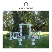 hand carved white marble decorative wedding party pillars