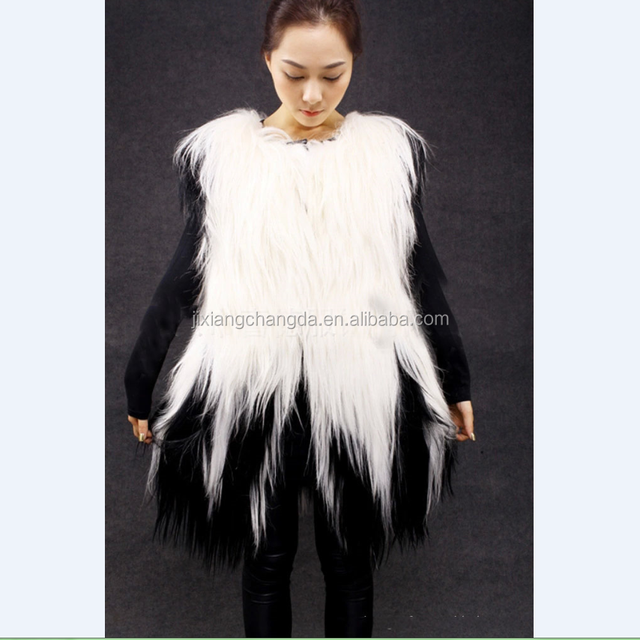 wholesale knitted long hair goat fur vest long fur vest for ladies