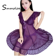 Smmoloa Women Sexy transparent nighty dress lace seethrough nightgown