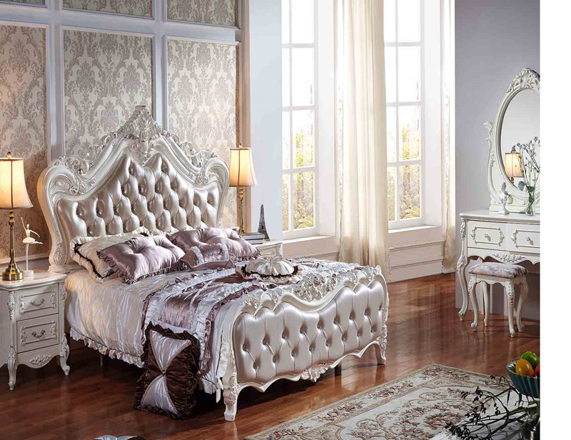 Royal Luxury European Leather Bed Frame Solid Wood And Mdf Wooden