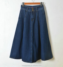 Long A-Line Denim Skirt With Pockets