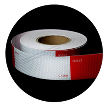 "6"" white 6"" red safety dot-c2 reflective tape for vehicle conspicuity sticker"