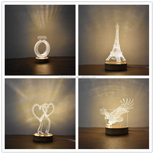 Laser diamond Kids Table Light 3D Illusion Led desk Lamp For Gifts