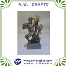 Custom silver resin rugby trophies award male action figure