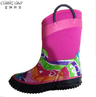 Girls warm neoprene boot and rubber sole with black handle