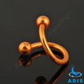 High polish nose twister piercing,anodized nose twister spiral with ball