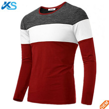 Men's Basic Color Block high elasticity Round Neck 95%Cotton/5%Spandex Long Sleeve Knitted T-Shirt Top